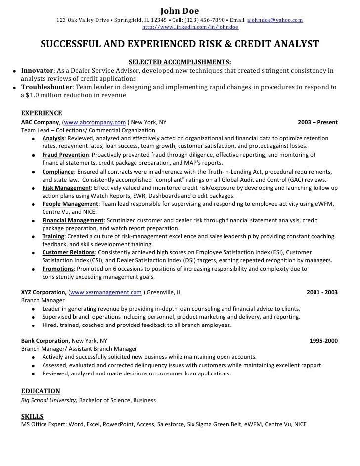 Resume Credit Manager | Goo Sample Service Resume