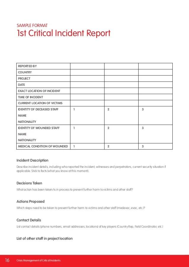 critical incident report format