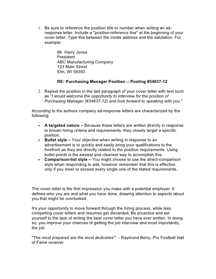 Cover letter using bullet points