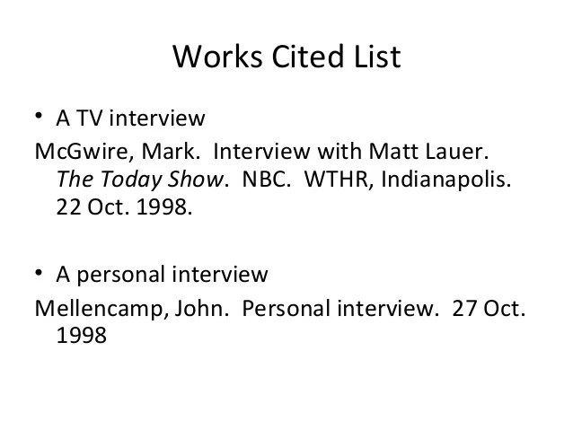 mla interview citation