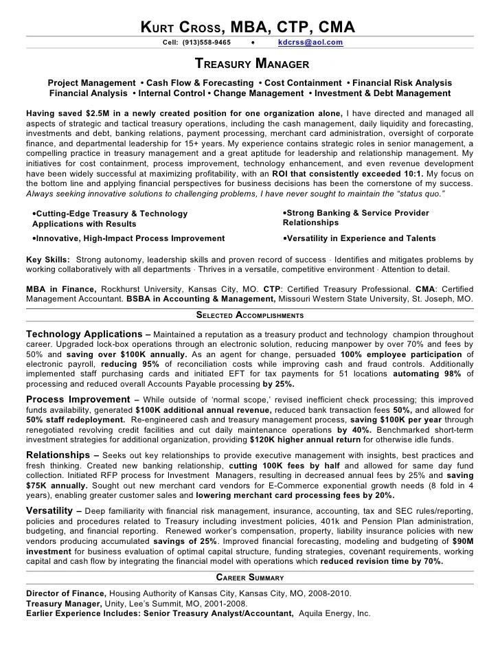 treasury manager resumes - Boatjeremyeaton - treasury specialist sample resume
