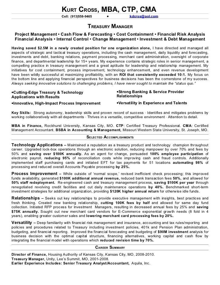 treasury manager resumes - Onwebioinnovate