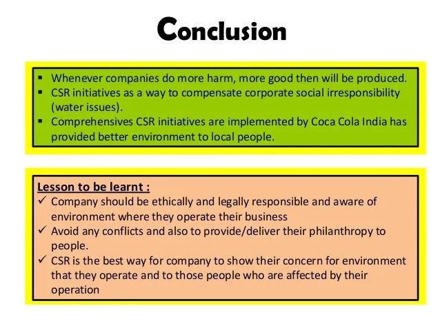 Corporate Social Responsibility Case Study Coca Cola India