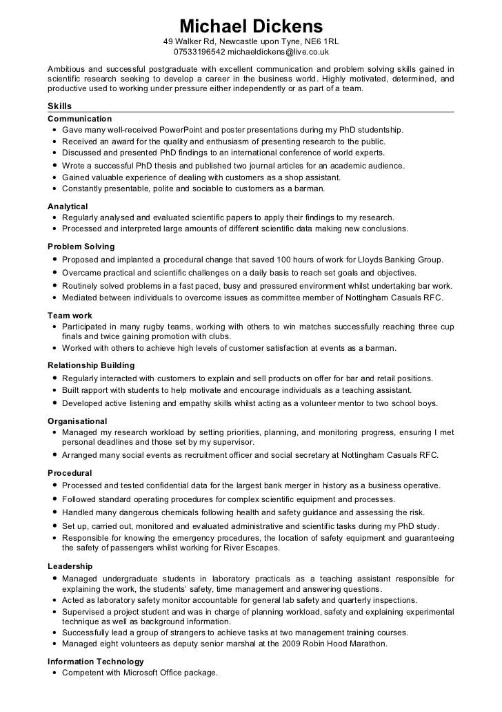 cv skills examples uk