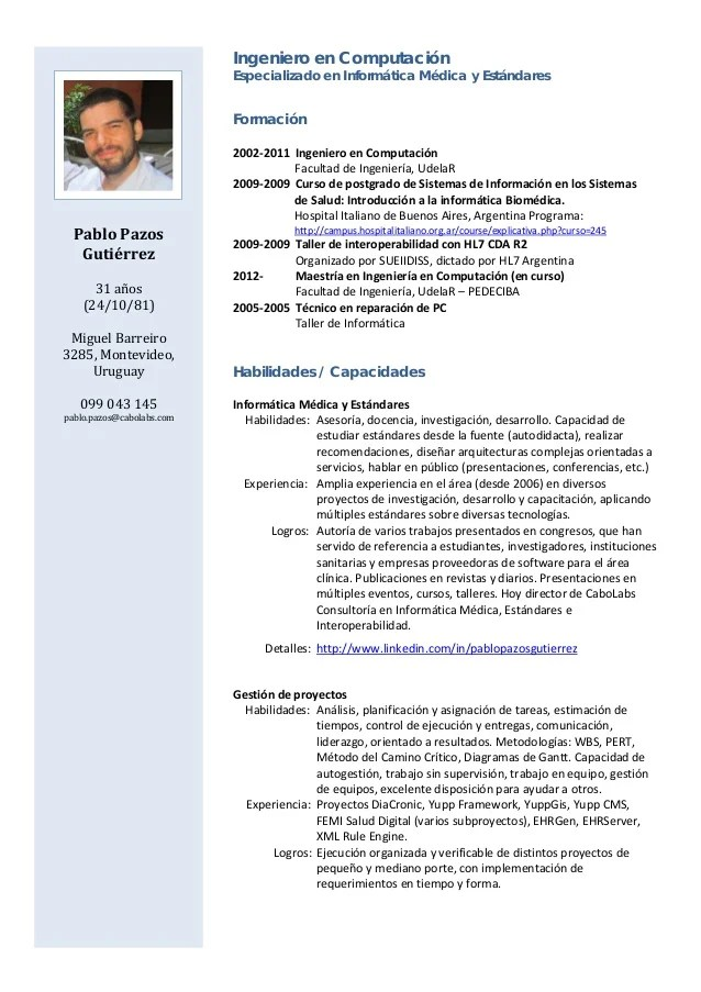 Ejemplo De Curriculum Vitae Actualizado 2015 Resume Pdf Download