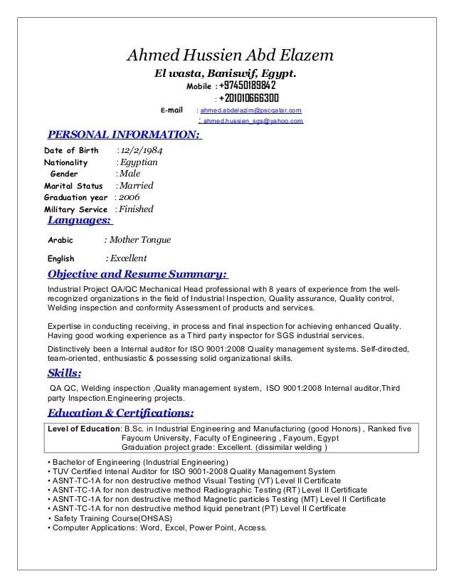 mechanical quality engineer resume samples