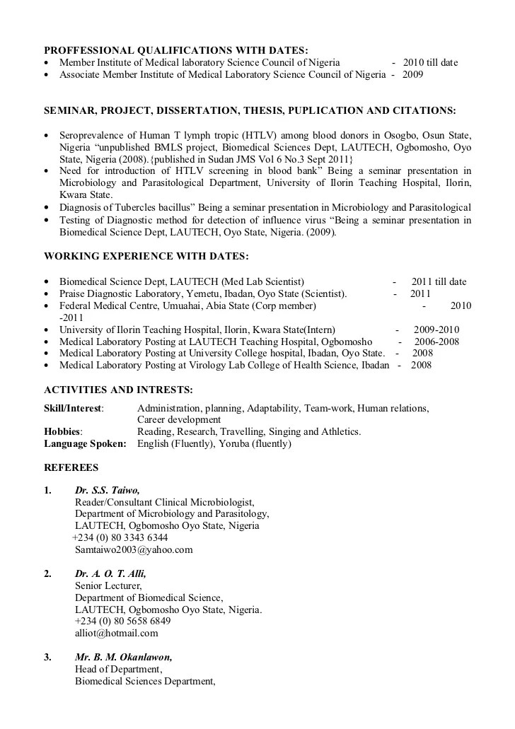 curriculum vitae biomedical scientist - Resume Biomedical Science