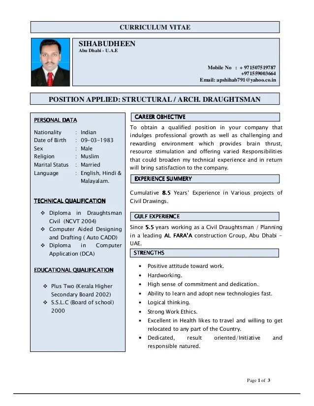 Entry level drafter resume