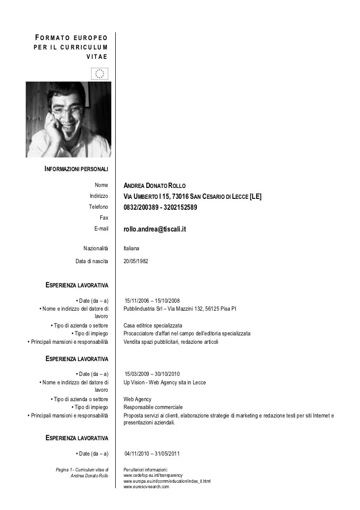 Cv Formato Europeo Free Download Resume Writing Nyc
