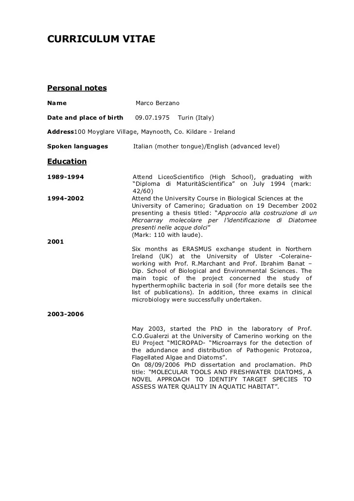 21 Basic Resumes Examples For Students Internships Curriculum Vitae Jan 2012