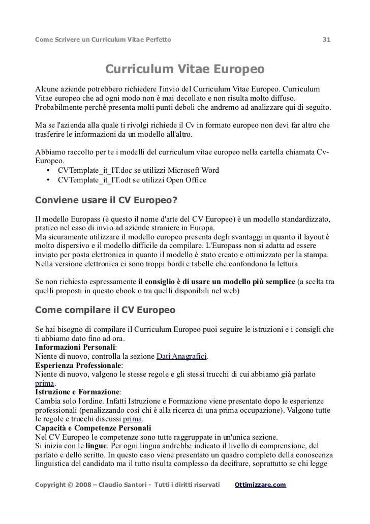 Curriculum Vitae Europeo Europass In Inglese  Modelo Jj Thomson