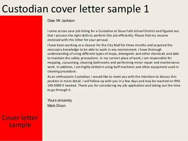 custodian cover letter sample