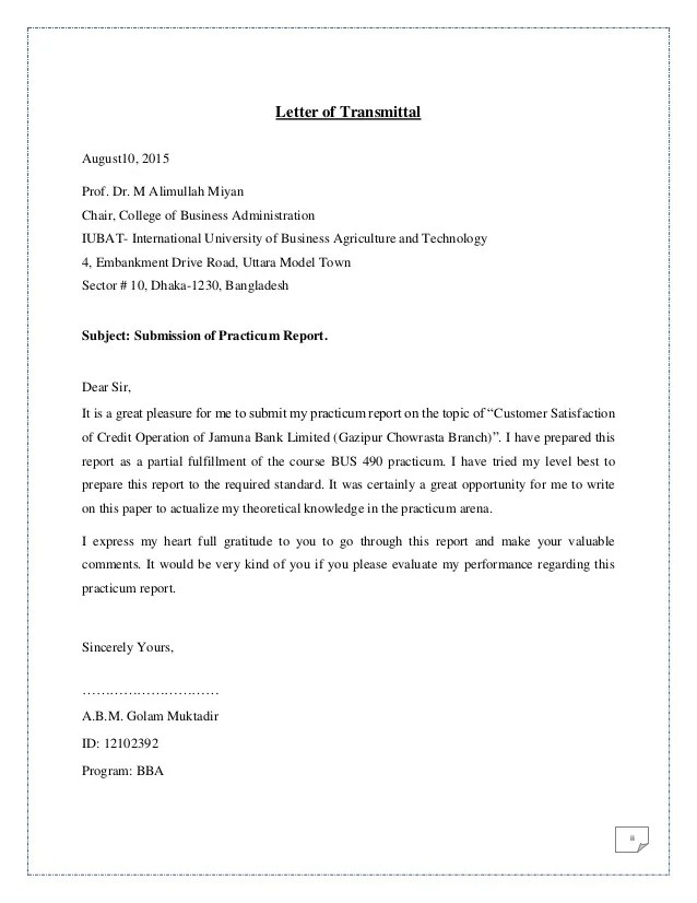 Cover Letter Samples For Business And Administration Jobs Customer Satisfaction Of Credit Operation Of Jamuna Bank Ltd