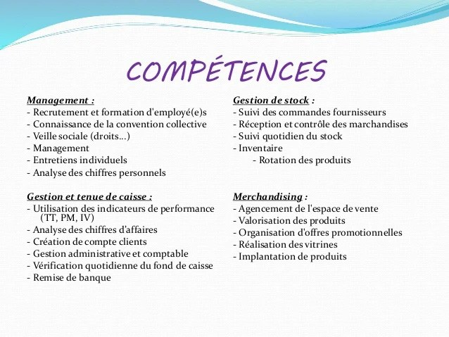 cv responsable point de vente competences