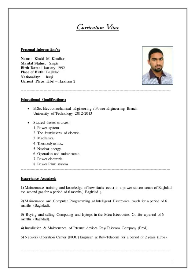 resume examples personal information