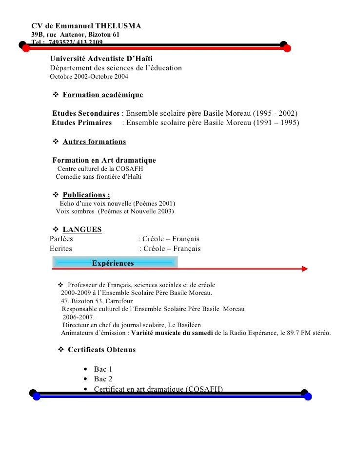 formation academique education cv