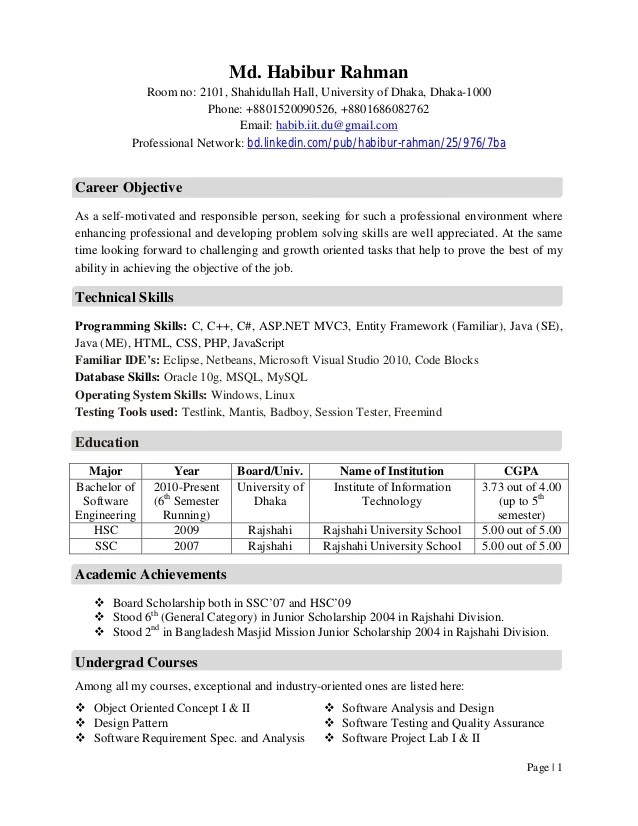 Extracurricular Activities Resume Examples Cv, Habibur Rahman