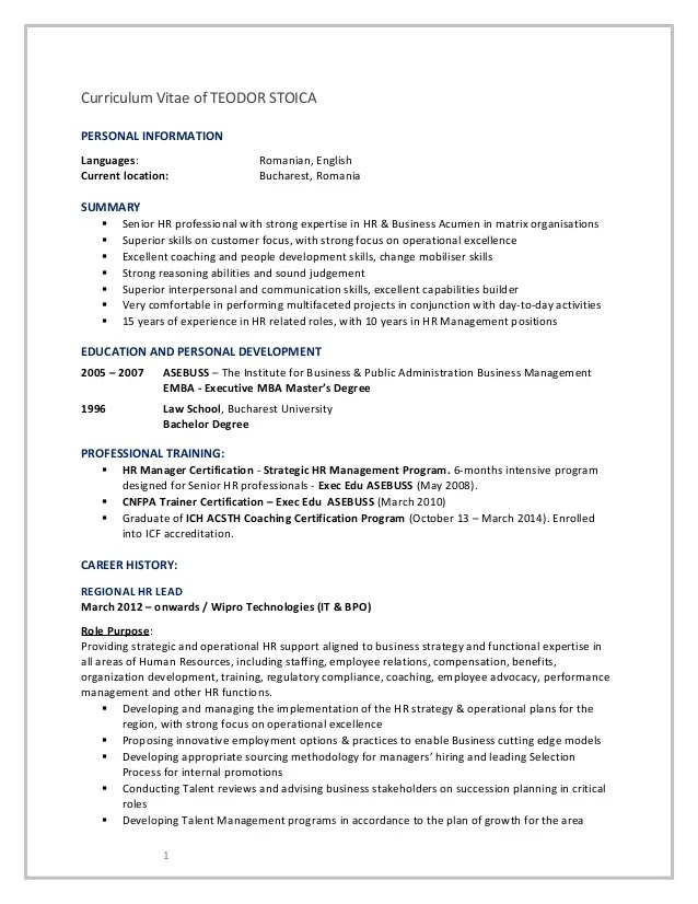 business english cv