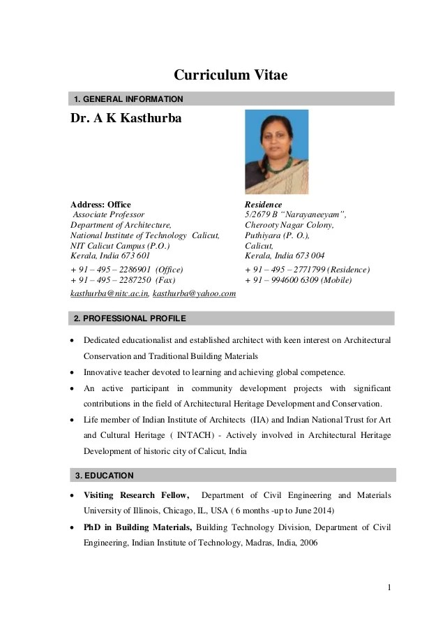 Curriculum Vitae Cv Resume Samples Resume Format Cv Kasthurba Nitc India