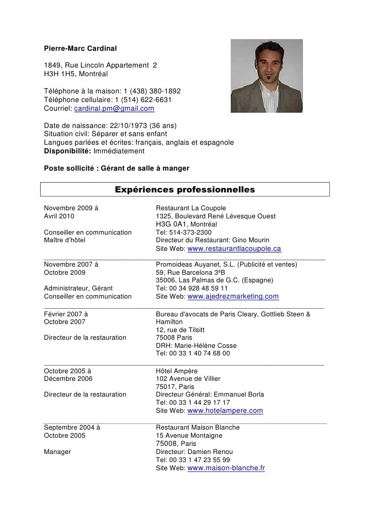 exemple cv prof eps