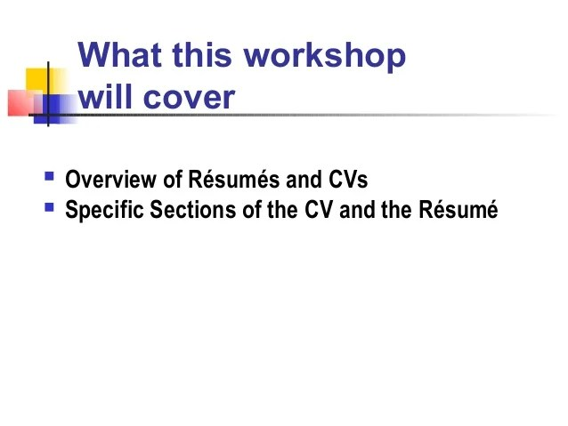 resume writing workshop curriculum