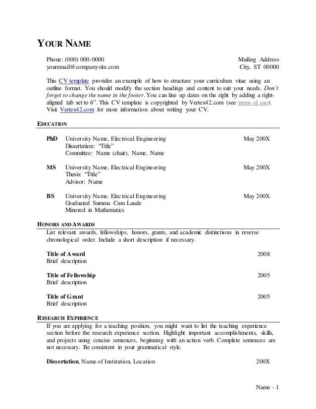 curriculum vitae outlines - Trisamoorddiner