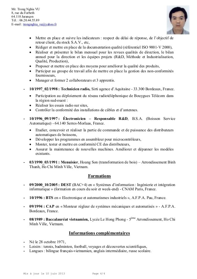 exemple cv operateur legrand
