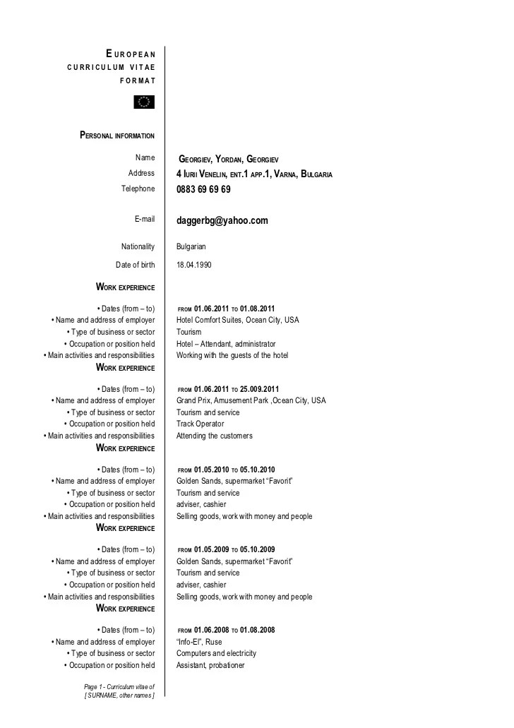 Europass Cv Example English Doc English Resume Sample University