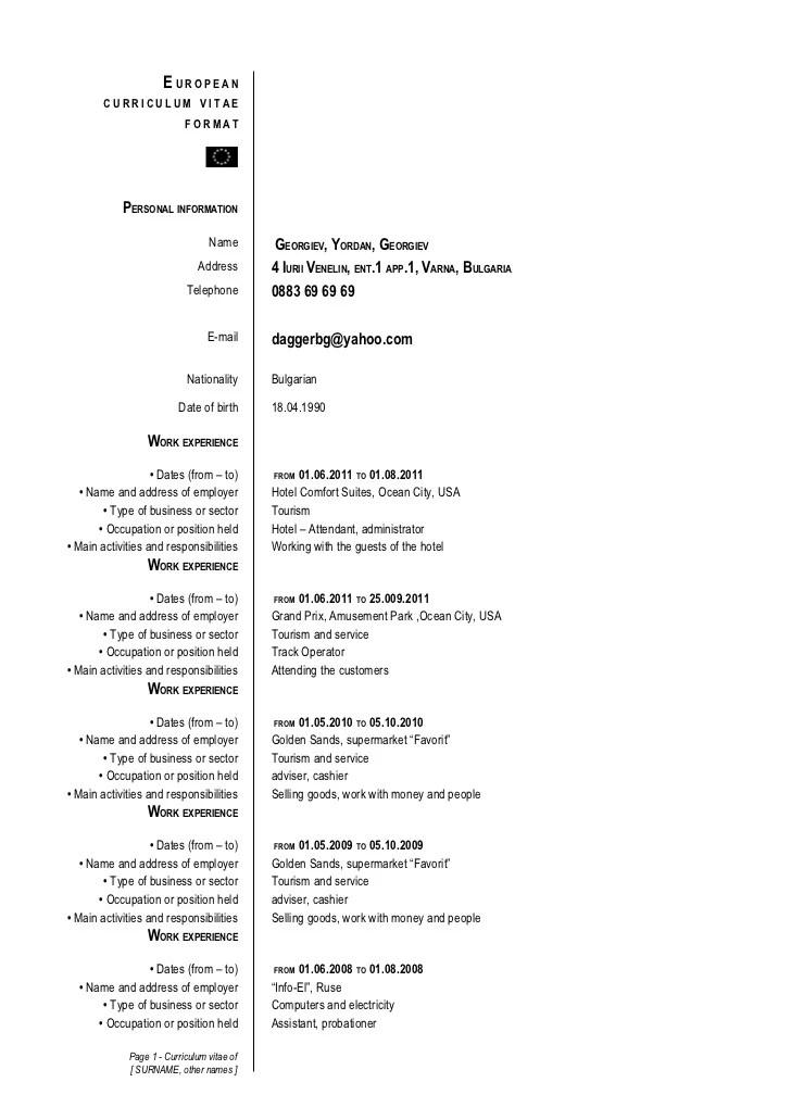 cv european format english