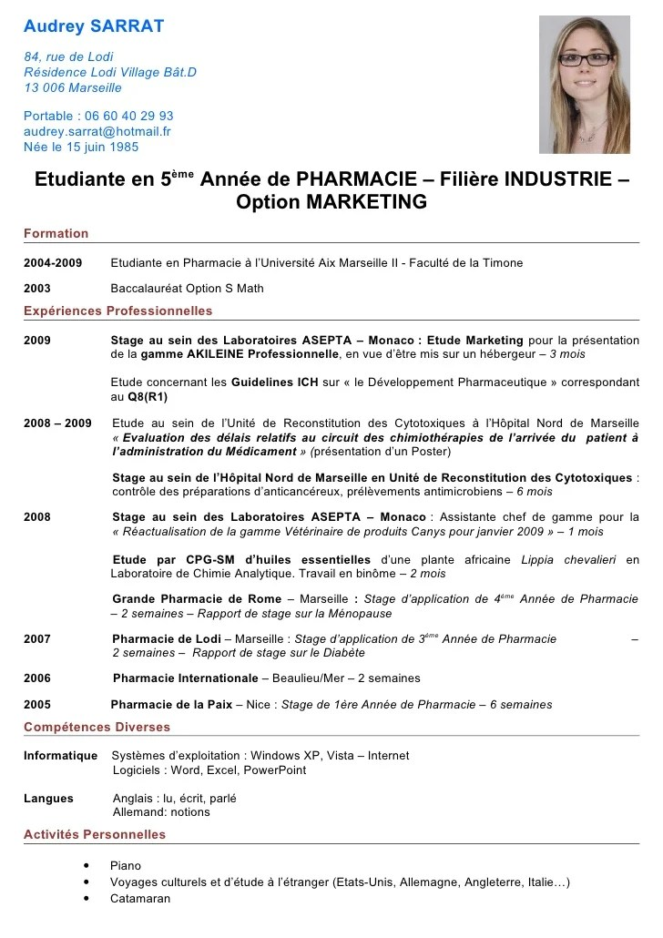 exemple de cv pharmaceutique