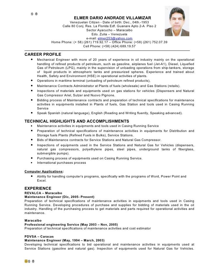 Basic Curriculum Vitae Example Nwu Cv English Elmer Andrade