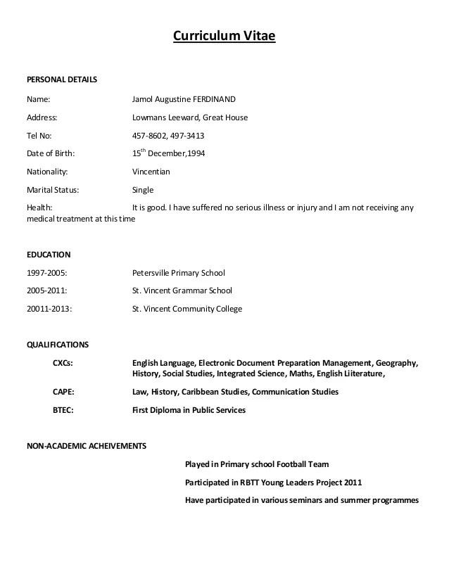 Sample Standard Cv Curriculum Vitae Name: …………… Nationality