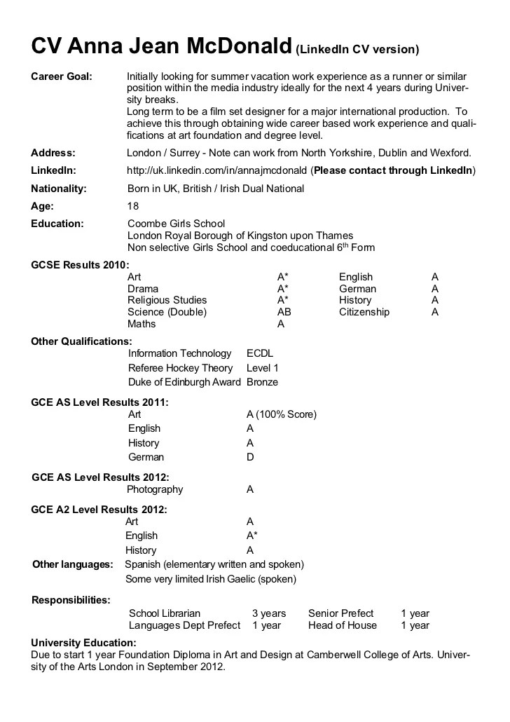 Sample Student Resumes Cover Letters And References Cv Anna Mc Donald August 2012 Pdf Version For Web