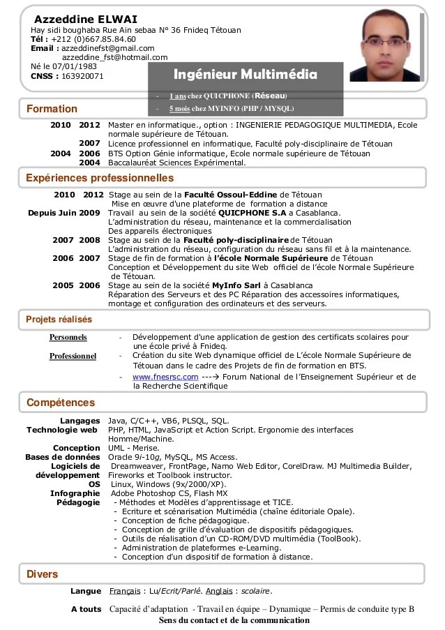 exemple de cv master genie civil