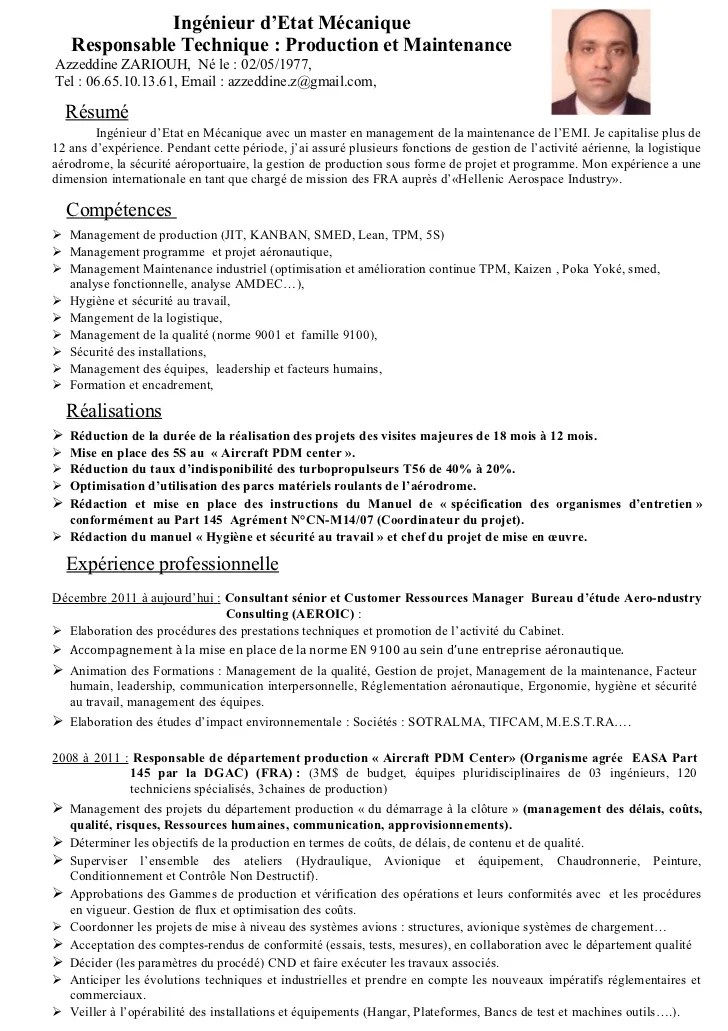 modele cv ingenieur de production