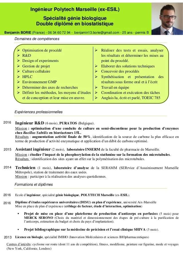 domaines de competences ingenieur cv