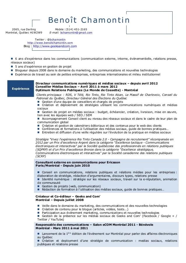 cv canadien francophone exemple