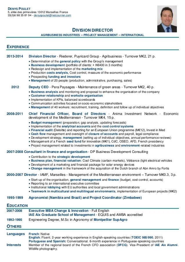 Example Of A Good Cv European Resources Cv Book Iae Aix Talent Provider For Executive Managers