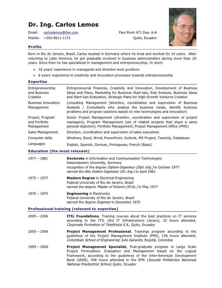 Great Resume Examples By Job Format Problem Solved Resume Of Carlos Lemos In English