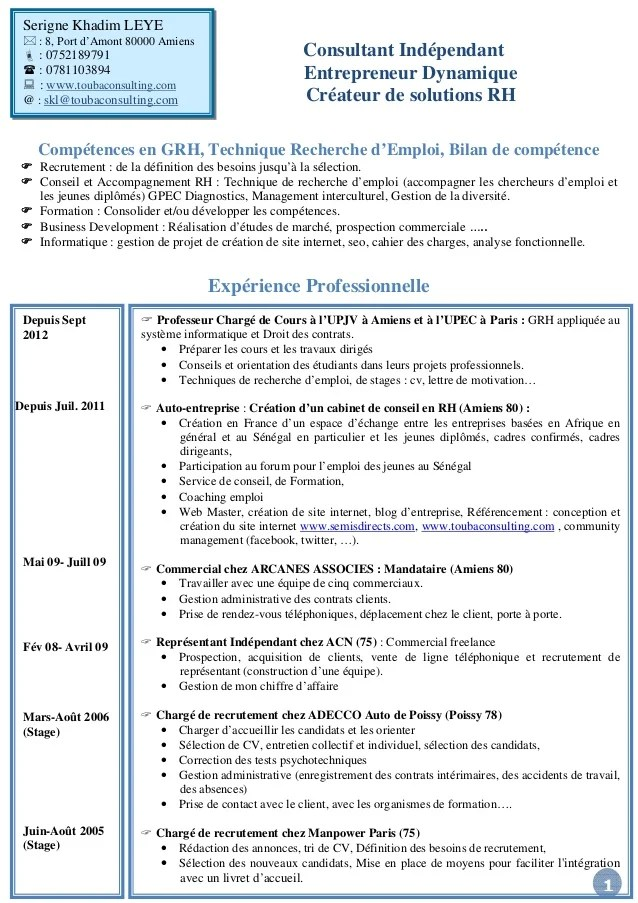 cv assistante ressources humaines formation