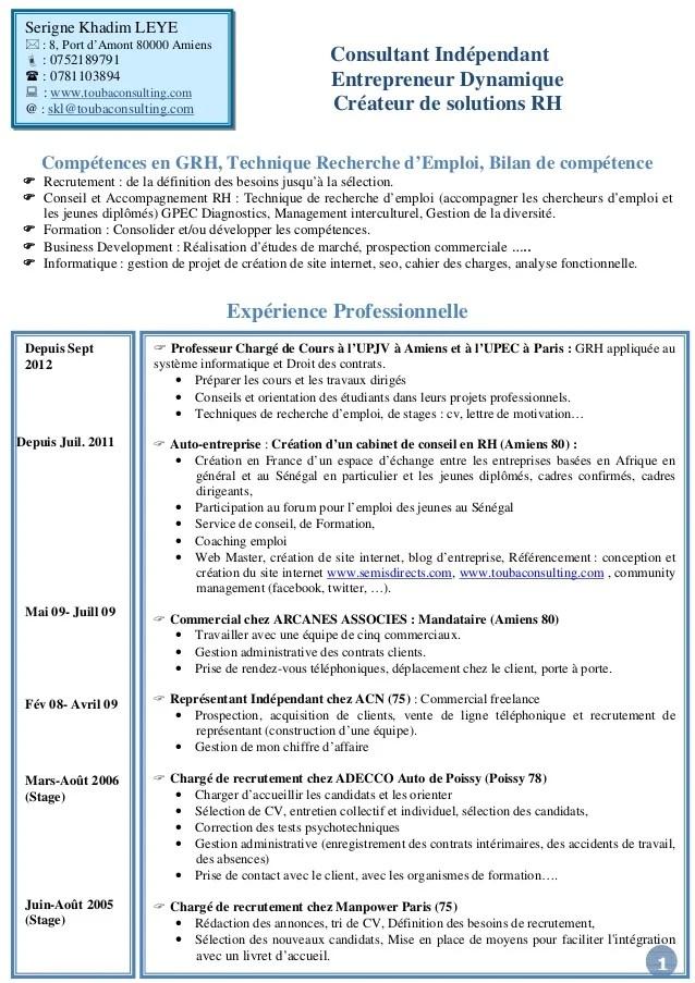 cv consultant rh en anglais