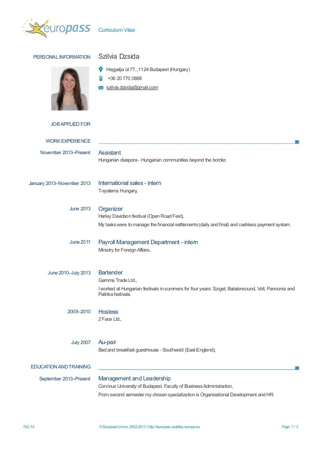 english cv type internship