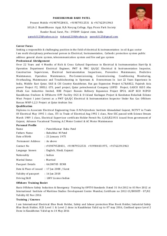 Cv Format Doc For Electrician   Resume Format Examples