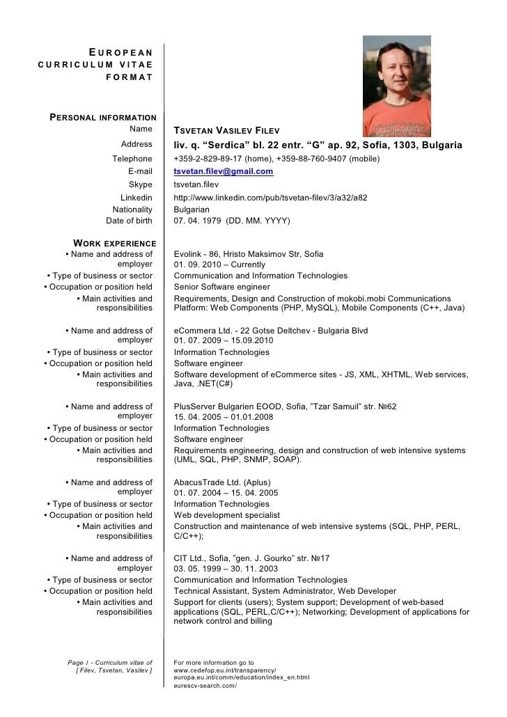 standard format for cv