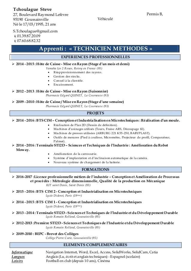 cv pour apprentissage pdf