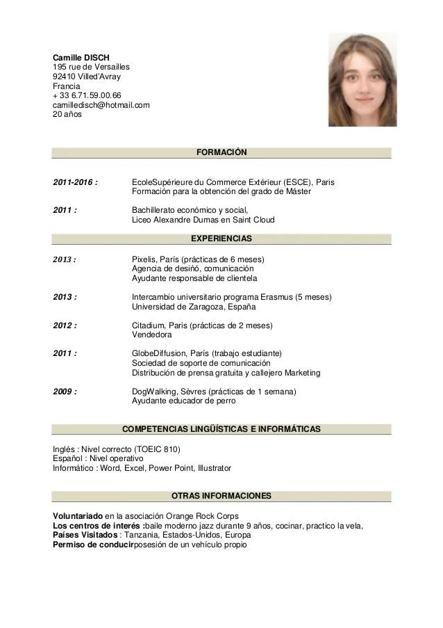 cv espanol estudiante