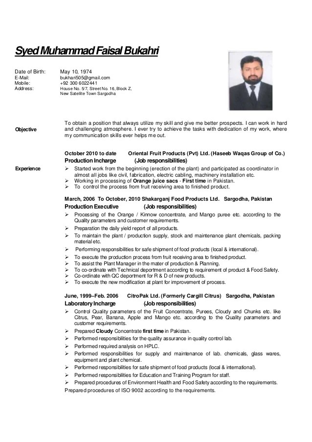 food technologist cv