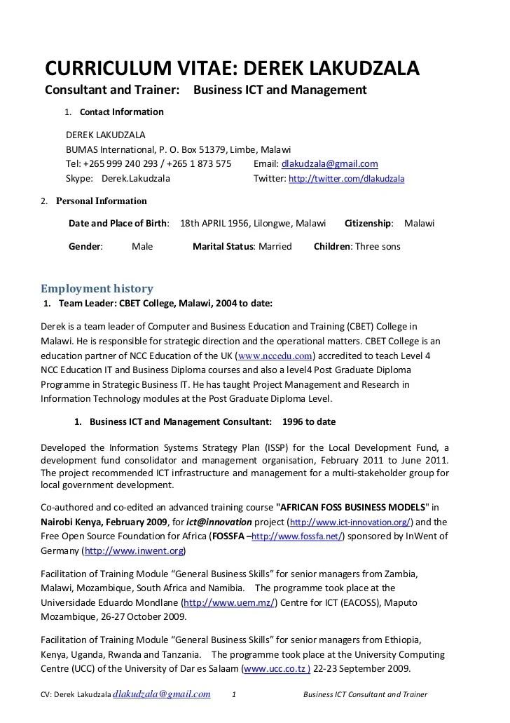 resume format kenya