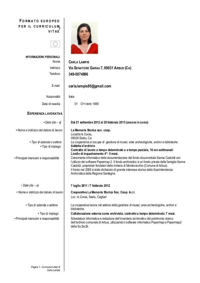 curriculum vitae europass esempio  Cv Formato Europeo Scarica Pdf | Resume Pdf Download