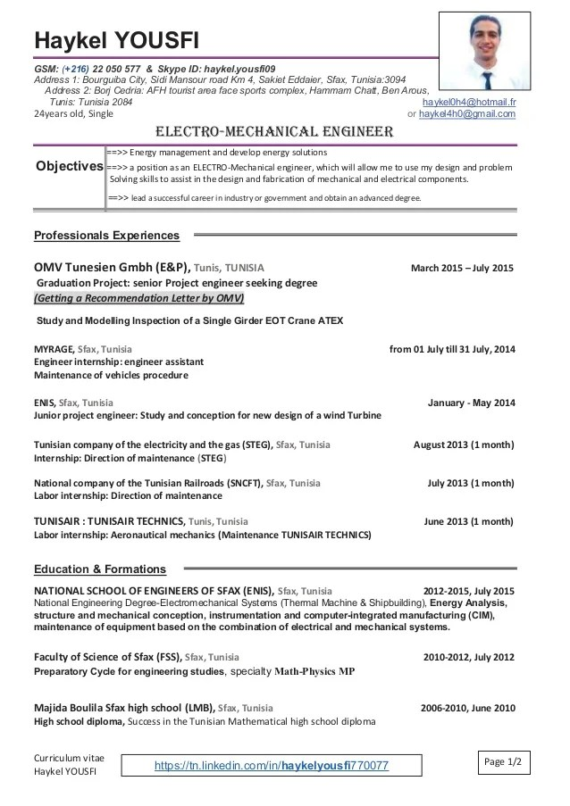 english cv ingenieur